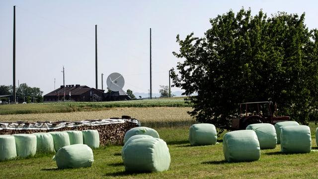 Ein Feld mit in plastik eingepackten Strohballen, im Hintergrund ist eine grosse Satellitenantenne zu erkennen.