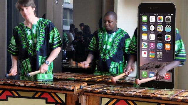 """Eine Marimba, zwei Menschen hintendran am Spielen, die dritte Person """"ist ein iPhone""""."""