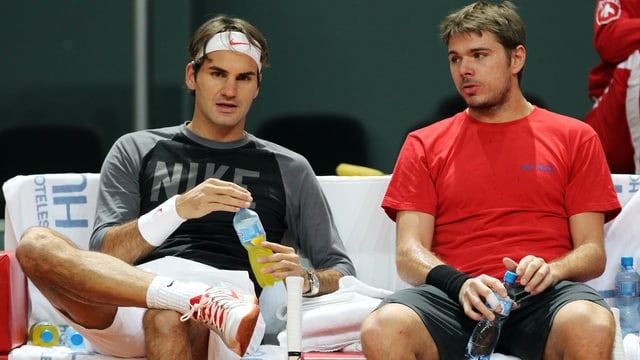 Roger Federer (links) und Stanislas Wawrinka in Indian Wells.