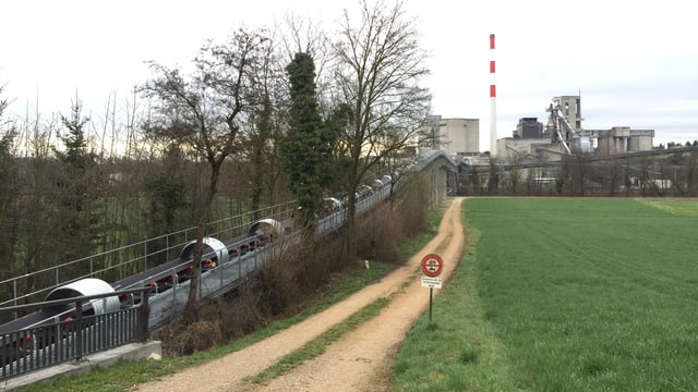 Förderband neben Feldweg, im Hintergrund Fabrik mit Kamin