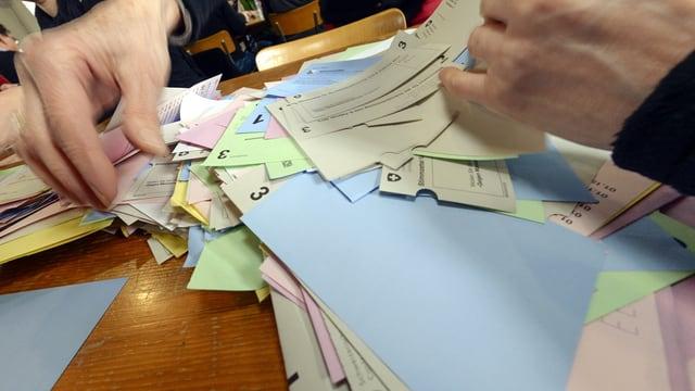 Hände, die auf auf einem Tisch ausgebreitete Stimmzettel sortieren.