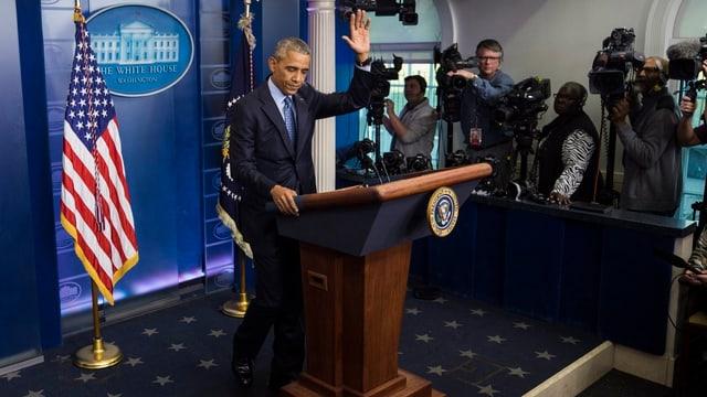 Barack Obama durant sia davosa conferenza da medias.