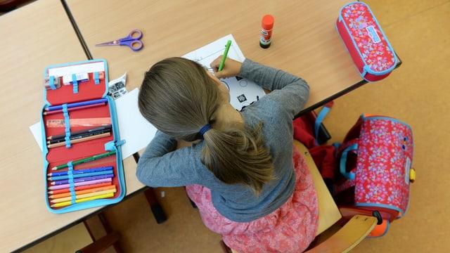 Maletg simbolic: scolara vid la lavur