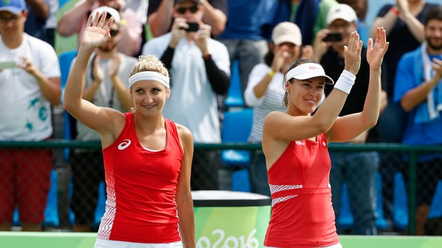 Martina Hingis e Timea Bacsinszky al turnier da tennis a Rio.