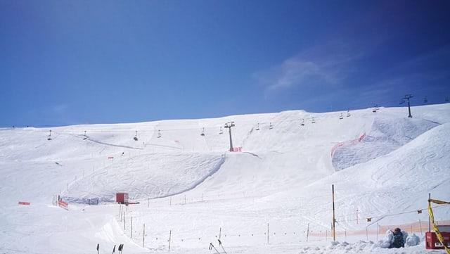 La pista per il campiunadi Svizzer da snowboard alpin a Scuol Motta Naluns.