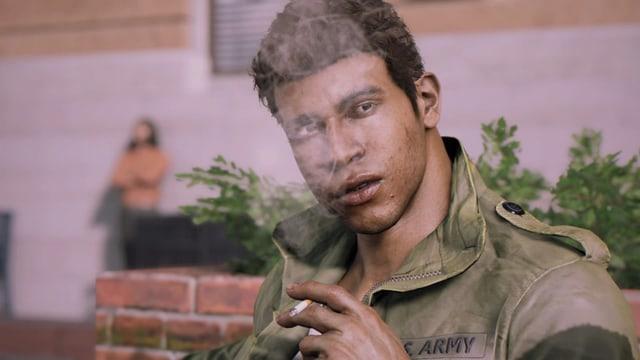 Lincoln Clay, rauchend.