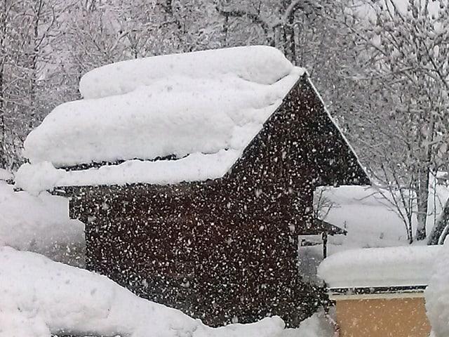 Auf einer Hütte am Hang liegt ein Meter Schnee, es schneit stark.