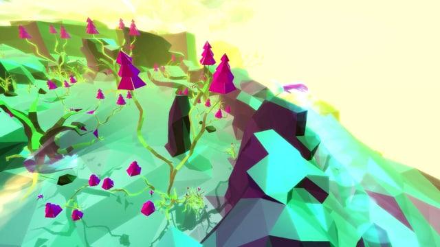 Eine grüne VR-Landschaft mit pinken Tannen.