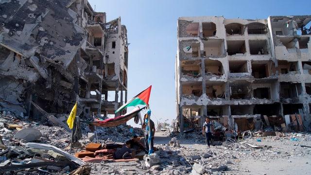 Zerstörte Häuser im Gazastreifen