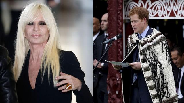 Donatella Versage und Prinz Harry in einem zusammengesetzten Bild