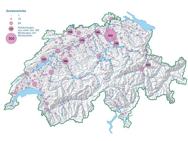 Topografische Schweizerkarte mit rosa Punkten
