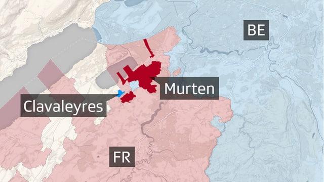 Karte mit Murten und Clavaleyres