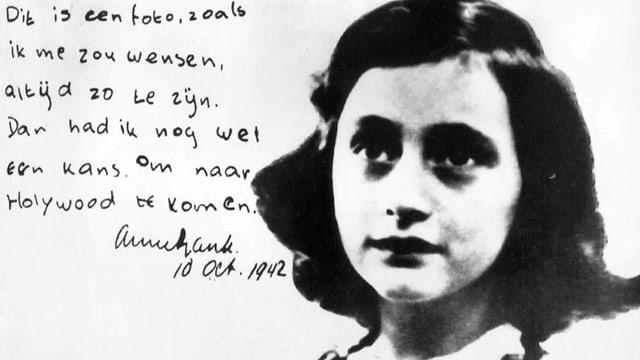 Bild von Anne Frank und handgeschriebener Text auf Niederländisch