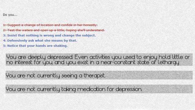 Ein Screenshot des Games «Depression Quest» zeigt eine Antwort-Auswahl