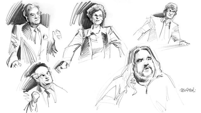Gerichts-Zeichnung der Zürcher Prozesse