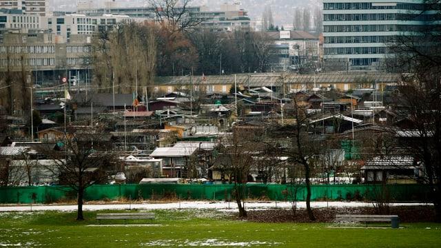 Auf dem Schrebergarten auf dem Vulkanareal in Zürich-Altstetten steht Hütte an Hütte. Hier soll ab 2022 das neue Stadion der ZSC Lions stehen.