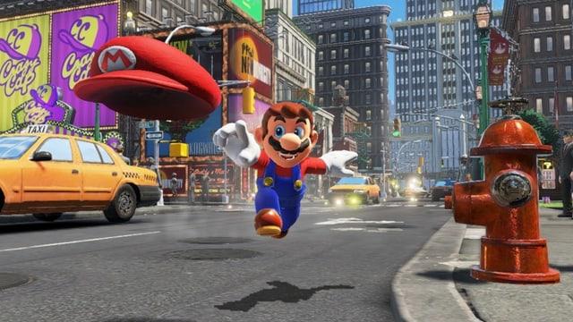 Szene aus einem modernen Videogame: Mario rennt über eine Strasse.