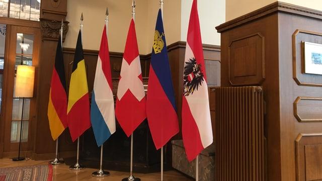 6 bandieras en lingia, la svizra en la mesadad