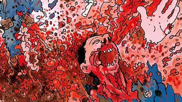 Mann im Schützengraben, schreiend, in Blut