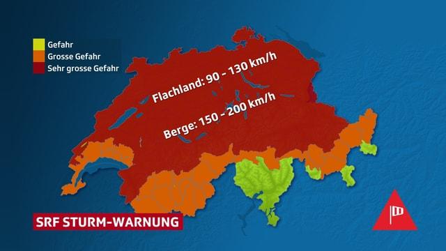 Schweizerkarte mit SRF Sturmwarnung für weite Teile des Landes auf Stufe rot.