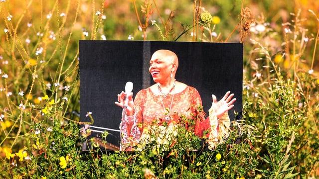 Foto platziert in einer Wiese) von Dee Dee Bridgewater während eines Auftritts.