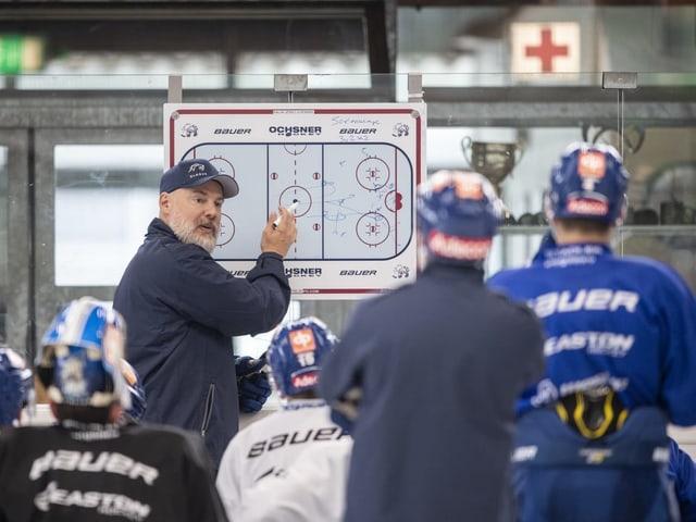Der neue ZSC-Trainer Rikard Grönborg erklärt seinen Spieler eine Übung.