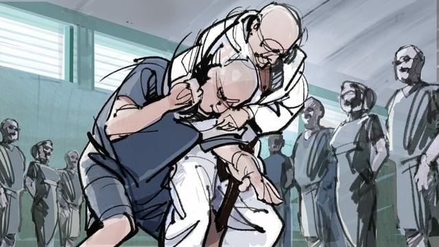 Illustration: Raufende Männer, Menschen schauen zu