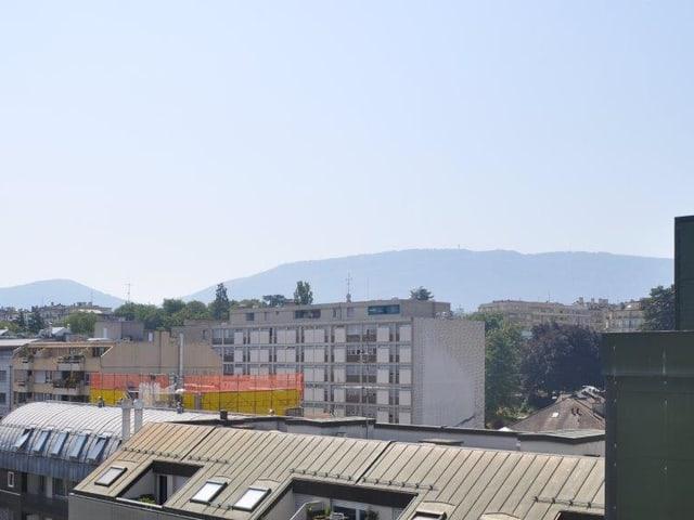 Stadt Genf, im Hintergrund der Berg Salève.