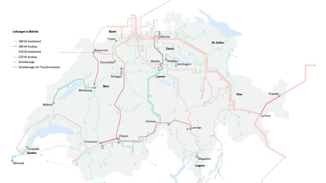 Karte mit dem künftigen Stromnetz.