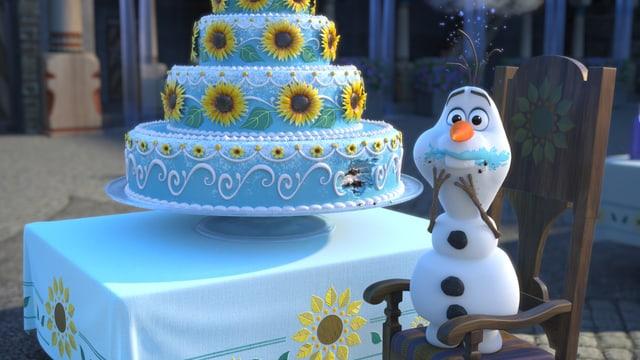 Bunte Torte und Pinguin