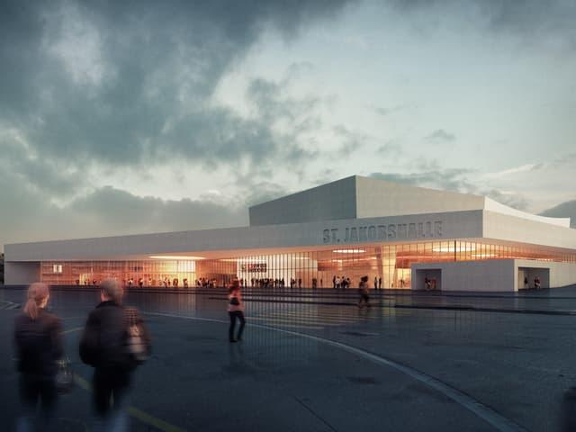 Abendliche Frontansicht der Joggeli-Halle in einer Visualisierung.