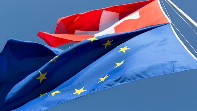 Eine gehisste EU und Schweizer Fahne flattern im Wind. (keystone)
