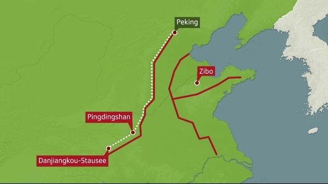 Auf einer Karte ist das Wasserprojekt von Chinas Süden bis Chinas Norden ersichtlich.