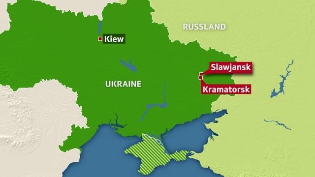 Grafik der Ukraine mit den Städten Slawjansk und Kramatorsk.