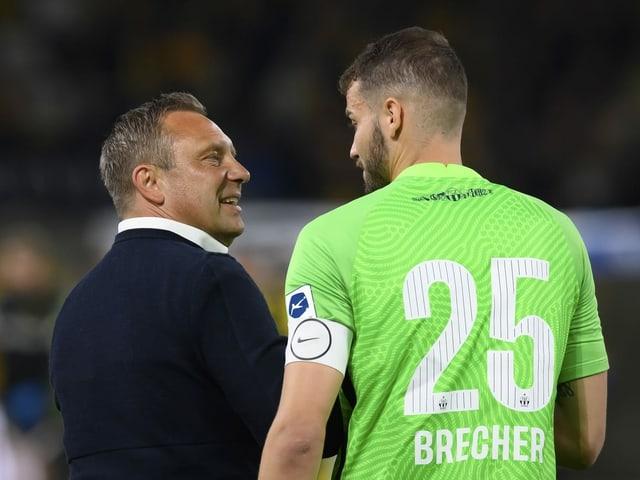 FCZ-Trainer André Breitenreiter und Torhüter Yannick Brecher.