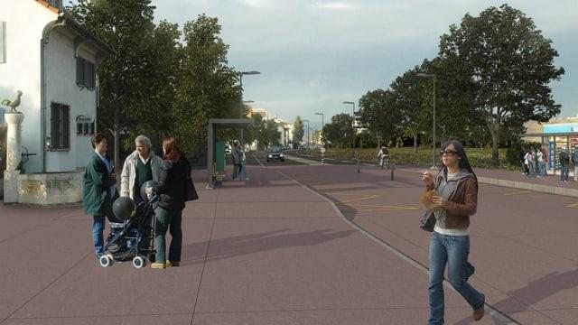Visualisierung Rheinstrasse und Bushaltestelle