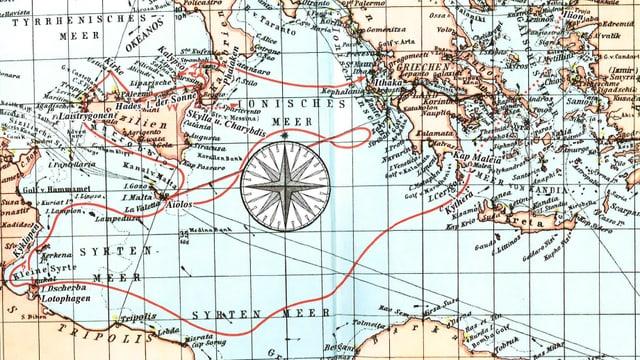 Der Weg des Odysseus von Troja nach Ithaka.