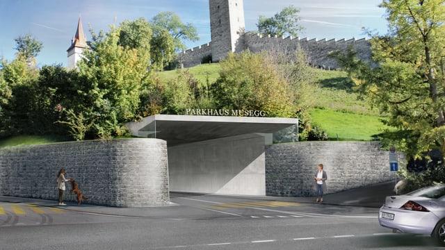 Visualisierung der Einfahrt des Parkhauses Musegg
