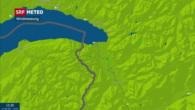 Das Bild zeigt eine Karte mit Messwerten von Montagnachmittag. Auf der Karte sind Windpfeile und Windgeschwindigkeiten abgebildet.