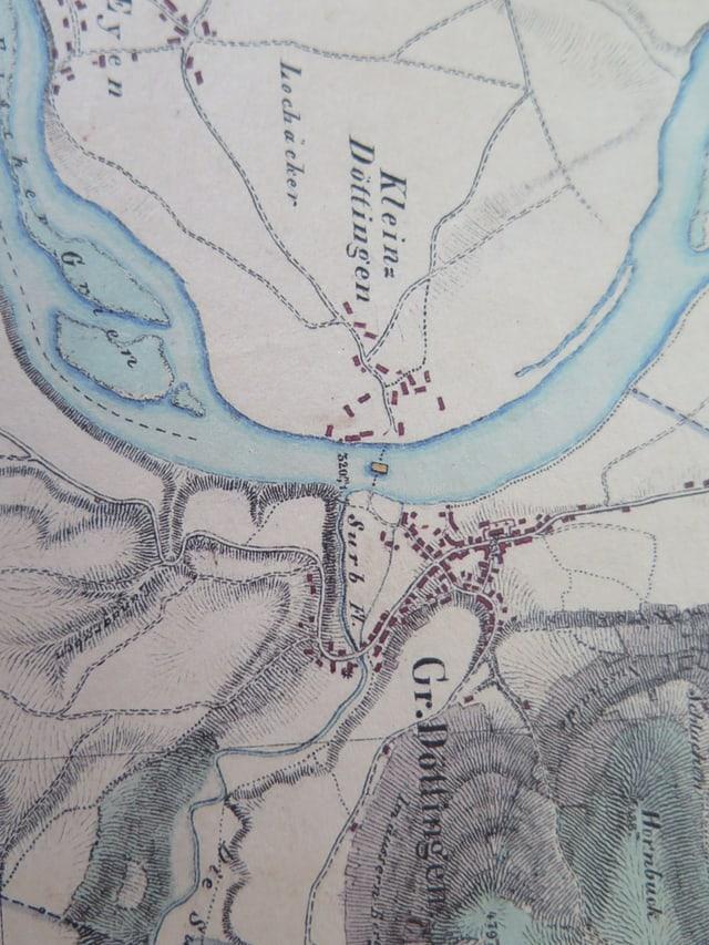 Karte, eingezeichnet sind zwei Dörfer und ein Fluss.