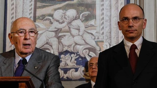 Staatspräsident Giorgio Napolitano und Ministerpräsident Enrico Letta.