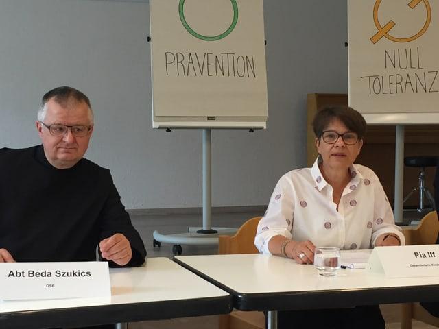 Abt Sukitsch und Pia Iff, Leiterin des Kinderheims.
