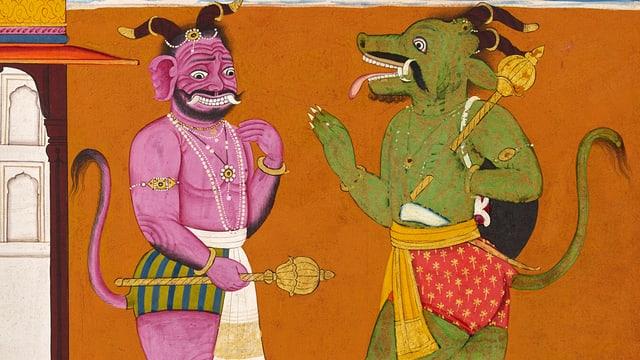 Ein pinker und ein grüner Dämon, halb Mensch, halb Tier