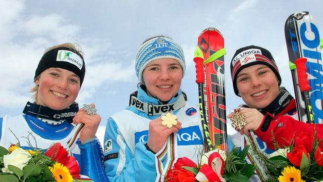 Lara Gut, Tina Weirather und Nicole Schmidhofer