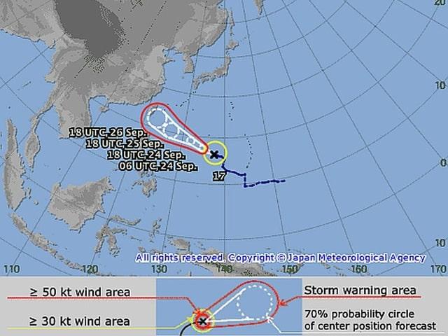 Voraussichtliche Zugbahn eines Taifuns vor China