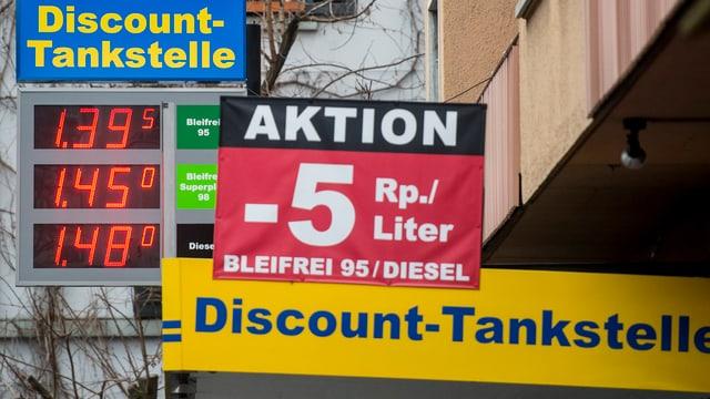 Preisanzeige einer Discount-Tankstelle