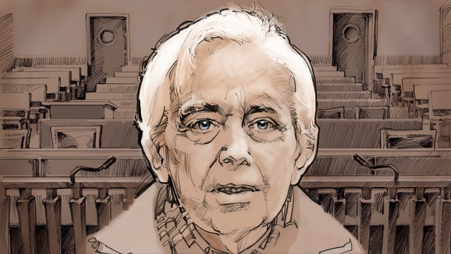 Grafische Zeichnung von Cornelius Gurlitt, der im Gerichtssaal sitzt.