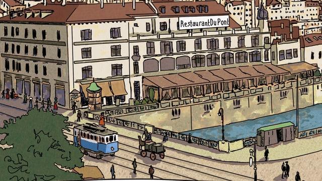 Ein Bild des Restaurants Du Pont beim Zürcher Bahnhof.