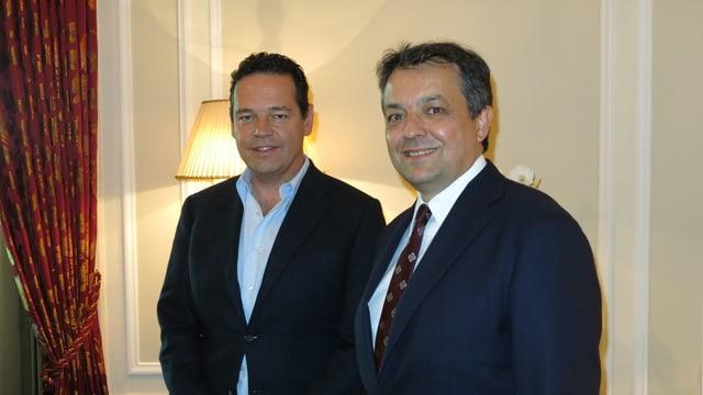 Palace-Direktor Andrea Scherz (rechts) und Bellevue-Chef Urs Bührer in der Präsidentensuite des Berner Luxushotels.