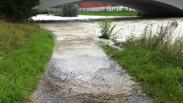 Überschwemmter Fussweg am Ufer der Sihl